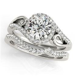 1.45 CTW Certified VS/SI Diamond 2Pc Set Solitaire Halo 14K White Gold - REF-378F4N - 31206