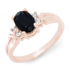 1.29 CTW Blue Sapphire & Diamond Ring 14K Rose Gold - REF-24K9W - 12375