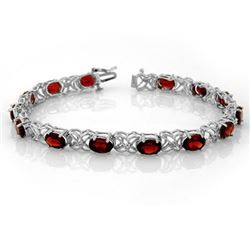 13.55 CTW Garnet & Diamond Bracelet 14K White Gold - REF-80N5Y - 10123