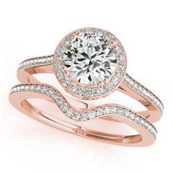 2.31 CTW Certified VS/SI Diamond 2Pc Wedding Set Solitaire Halo 14K Rose Gold - REF-593T8M - 30817