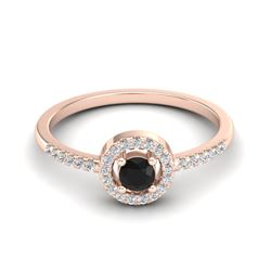 0.50 CTW Micro Pave VS/SI Diamond Ring Solitaire Halo 14K Rose Gold - REF-35K3W - 20693
