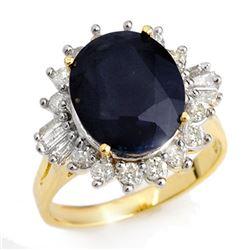 8.99 CTW Blue Sapphire & Diamond Ring 14K Yellow Gold - REF-141A8X - 12917