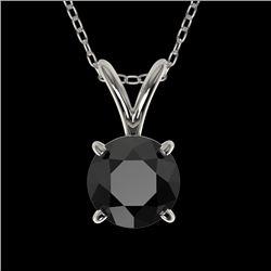 0.75 CTW Fancy Black VS Diamond Solitaire Necklace 10K White Gold - REF-22X5T - 33175
