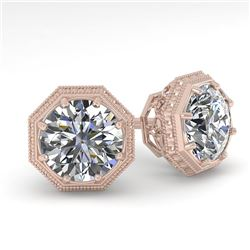 1.53 CTW VS/SI Diamond Stud Solitaire Earrings 18K Rose Gold - REF-316Y8K - 35969