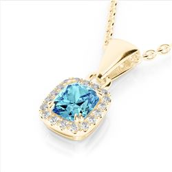 1.25 CTW Sky Blue Topaz & Micro VS/SI Diamond Halo Necklace 10K Yellow Gold - REF-27H3A - 22894