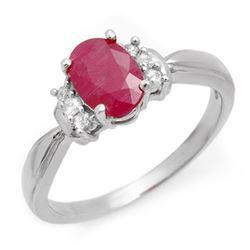 1.26 CTW Ruby & Diamond Ring 10K White Gold - REF-22M8H - 12923