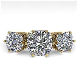 2.0 CTW Past Present Future Certified VS/SI Cushion Diamond Ring 18K Yellow Gold - REF-414W2F - 3592