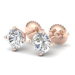 1.5 CTW VS/SI Diamond Solitaire Art Deco Stud Earrings 18K Rose Gold - REF-309W3F - 37302
