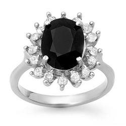 3.67 CTW Blue Sapphire & Diamond Ring 14K White Gold - REF-87F3N - 12753