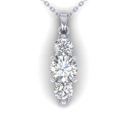 1.25 CTW Certified VS/SI Diamond Art Deco 3 Stone Necklace 14K White Gold - REF-193X3T - 30480