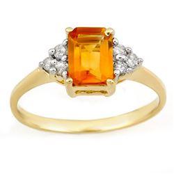 1.12 CTW Citrine & Diamond Ring 10K Yellow Gold - REF-17N3Y - 11266