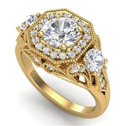 2.11 CTW VS/SI Diamond Solitaire Art Deco 3 Stone Ring 18K Yellow Gold - REF-490M9H - 37330
