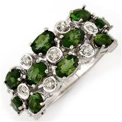 3.20 CTW Green Tourmaline & Diamond Ring 10K White Gold - REF-56T5M - 10964