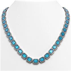 52.99 CTW Swiss Topaz & Diamond Halo Necklace 10K White Gold - REF-696H2A - 41363