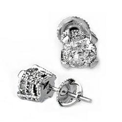2.0 CTW Certified VS/SI Diamond Solitaire Stud Earrings 14K White Gold - REF-457F2N - 10456