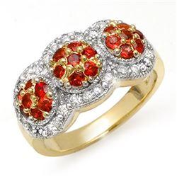 1.50 CTW Red Sapphire & Diamond Ring 14K Yellow Gold - REF-76Y2K - 10656