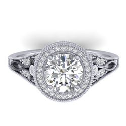 2.2 CTW Certified VS/SI Diamond Art Deco Micro Halo Ring 14K White Gold - REF-681A6X - 30525
