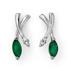 0.50 CTW Emerald & Diamond Earrings 10K White Gold - REF-15M5H - 13233
