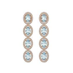 4.68 CTW Aquamarine & Diamond Halo Earrings 10K Rose Gold - REF-115A6X - 40527