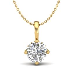0.82 CTW VS/SI Diamond Solitaire Art Deco Necklace 18K Yellow Gold - REF-180F2N - 37027