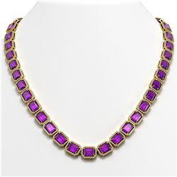 50.99 CTW Amethyst & Diamond Halo Necklace 10K Yellow Gold - REF-677K6W - 41371