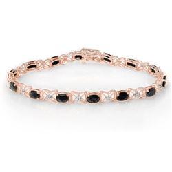 10.81 CTW Blue Sapphire & Diamond Bracelet 18K Rose Gold - REF-97F3N - 13824
