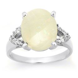 2.75 CTW Opal & Diamond Ring 10K White Gold - REF-45K5W - 13025