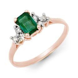 0.74 CTW Emerald & Diamond Ring 14K White Gold - REF-21N8Y - 13762