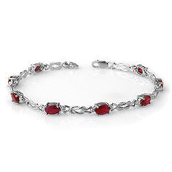 5.48 CTW Ruby & Diamond Bracelet 14K White Gold - REF-66X4T - 14078