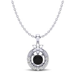 0.24 CTW Black & Micro Pave VS/SI Diamond Halo Solitaire Necklace 18K White Gold - REF-20X5T - 20359