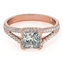 2.05 CTW Certified VS/SI Princess Diamond Solitaire Halo Ring 18K Rose Gold - REF-661A4X - 27109