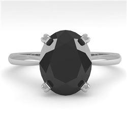5.0 CTW Oval Black Diamond Engagement Designer Ring 14K White Gold - REF-123H8A - 38479
