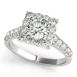 2 CTW Certified VS/SI Diamond Solitaire Halo Ring 18K White Gold - REF-430M2H - 26832