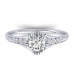 1.25 CTW Certified VS/SI Diamond Solitaire Art Deco Ring 14K White Gold - REF-347X3T - 30522