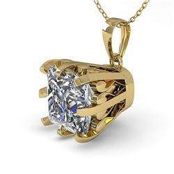 1 CTW Certified VS/SI Princess Diamond Necklace 18K Yellow Gold - REF-280K2W - 35719