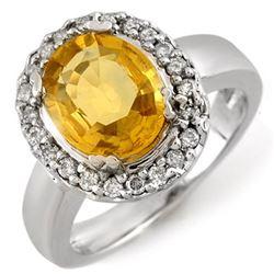 3.40 CTW Yellow Sapphire & Diamond Ring 10K White Gold - REF-61N3Y - 10974