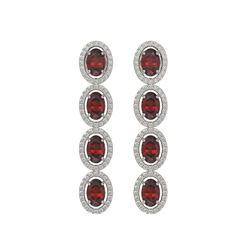 6.2 CTW Garnet & Diamond Halo Earrings 10K White Gold - REF-102W5F - 40547