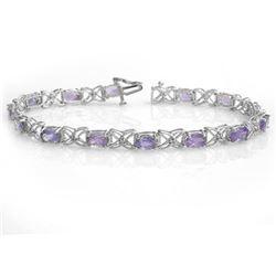 8.65 CTW Tanzanite & Diamond Bracelet 18K White Gold - REF-153W3F - 13908