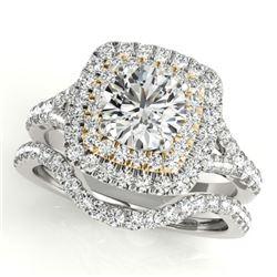 1.82 CTW Certified VS/SI Diamond 2Pc Set Solitaire Halo 14K White & Yellow Gold - REF-408W5F - 30704
