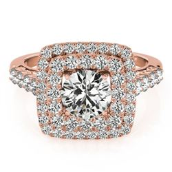 2.05 CTW Certified VS/SI Diamond Solitaire Halo Ring 18K Rose Gold - REF-447H8A - 27103
