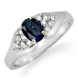 0.90 CTW Blue Sapphire & Diamond Ring 18K White Gold - REF-45X6T - 12455