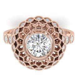 1.5 CTW Certified VS/SI Diamond Art Deco Ring 14K Rose Gold - REF-382N4Y - 30553