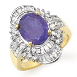 5.20 CTW Tanzanite & Diamond Ring 14K Yellow Gold - REF-187H6A - 14429