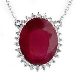 9.25 CTW Ruby & Diamond Necklace 14K White Gold - REF-312W2F - 14082