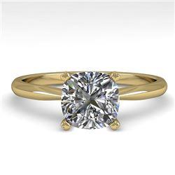 1.01 CTW Cushion Cut VS/SI Diamond Engagement Designer Ring 18K Yellow Gold - REF-285F2N - 32428
