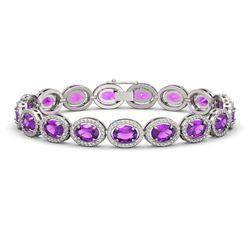 19.82 CTW Amethyst & Diamond Halo Bracelet 10K White Gold - REF-249A5X - 40640