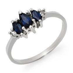 0.66 CTW Blue Sapphire & Diamond Ring 18K White Gold - REF-23A3X - 12926