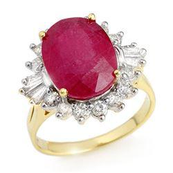 7.04 CTW Ruby & Diamond Ring 14K Yellow Gold - REF-141Y8K - 12863