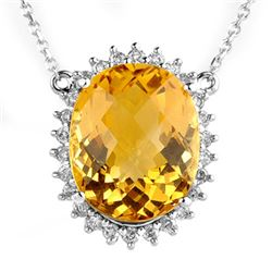 15.75 CTW Citrine & Diamond Necklace 14K White Gold - REF-104F5N - 10296