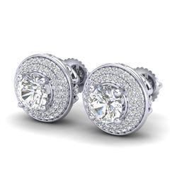 2.35 CTW VS/SI Diamond Solitaire Art Deco Stud Earrings 18K White Gold - REF-400Y2K - 37256